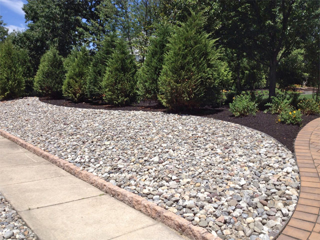 Tree Planting and Landscape Stone Installation