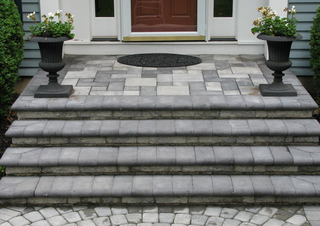 EP Henry Steps and Village Square Pavers - Pewter Blend color